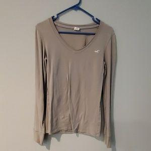 Gray tan long sleeved top
